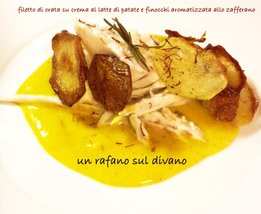 filetto di orata su crema al latte di patate e finocchio aromatizzata allo zafferano